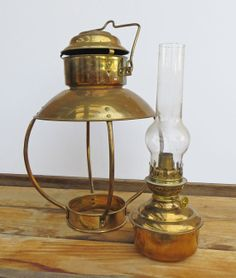 Brass lantern with removable oil lamp by aVintageCollective, $100.00