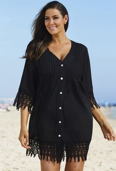 Plus Size Black Crochet Trim Cover Up Plus Size Bikini, Plus Size Swimsuits, Cute Swimsuits, Big And Tall Outfits, Plus Size Outfits, Full Figure Fashion, Swimwear Cover Ups, Plus Size Men, Full Figured Women
