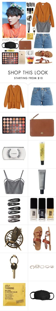 """""""☆waiting for Suga at his fan-meet☆"""" by bands116 ❤ liked on Polyvore featuring Monki, M.i.h Jeans, Morphe, Mulberry, MAC Cosmetics, philosophy, WithChic, Clips, JINsoon and Hot Topic"""