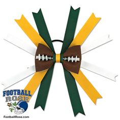 Football Hair Bow Green Bay by SportsRoses on Etsy Football Hair Bows, Football Team, Green Bay Football, Different Font Styles, Team Mom, Elastic Hair Ties, Making Hair Bows, Ribbon Colors, How To Make Bows