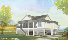 No Squall Cottage - Coastal Home Plans Coastal House Plans, Coastal Cottage, Coastal Homes, Cottage Homes, Elevated House Plans, Covered Front Porches, House On Stilts, Porch And Balcony, Flex Room