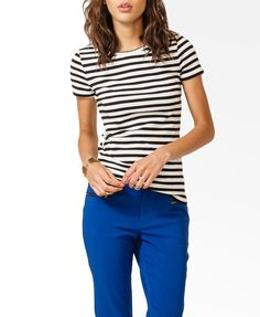 Striped tee, colored pants