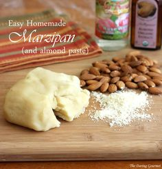 how to make marzipan almond paste - used extra almonds and almond extract. Added just a splash of rose water. Would prob be good with bitter almond extract or oil.