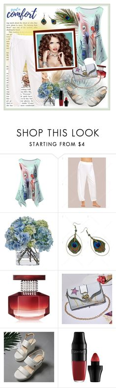 """""""Feather Print Asymetric Tank Top"""" by carola-corana ❤ liked on Polyvore featuring Diane James, Avon and Lancôme"""