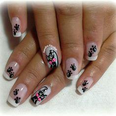 Gatito Cat Nail Art, Animal Nail Art, Cat Nails, Black White Nails, Natural Acrylic Nails, Magic Nails, Nail Art Videos, Gel Nail Designs, Nail Art Hacks