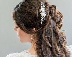 Bridal Hair Comb Bridal Hairpiece Pearl Hair by SarahWalshBridal