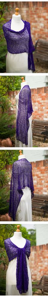 Various views of Mulberry silk shawl in crocheted lace.  Available from http://www.thecrimsonrabbit.co.uk/