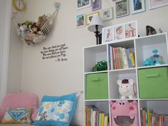 Reading corner with Dr Seuss quote