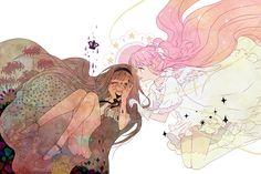 Witch Homura and Goddess Madoka from Madoka Magica.