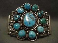 Huge Old Vintage Navajo Satellite Turquoise Silver Bracelet