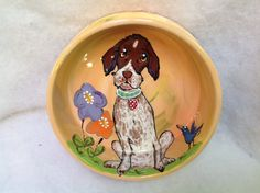 Hand Painted Dog Bowl / Springer Spaniel / Debby Carman/ Faux Paw Productions by FauxPawProductions on Etsy