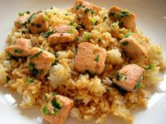 Salmon Pilaf With Green Onions Recipe