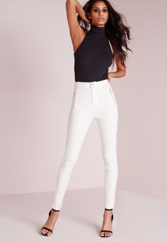 Missguided - Vice High Waisted Zipped Super Stretch Skinny Jeans White