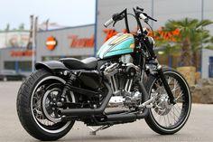 Chopped Harey-Davidson Sportster 72 by #Thunderbike with many new custom parts