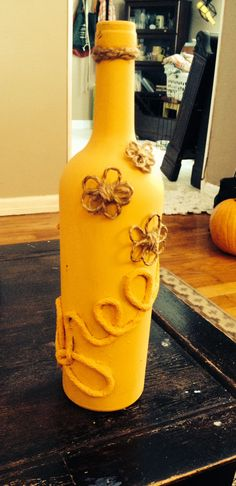 Painted wine bottle.  Crafts.