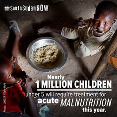 Im Südsudan sind ungefähr 1 Million Kinder unter 5 Jahren (!) unterernährt! Sie brauchen dringend unsere Hilfe! Amnesty International, Satan, Food, First Aid Only, Kids, Meal, Essen, Hoods, Meals
