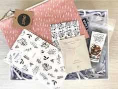 Lavish Gift Box available from www.lilou.co.za   Lilou Online Gift Shopping   Screen printed fabric pouch, chocolate coated almond roca, notebook and sterling silver necklace