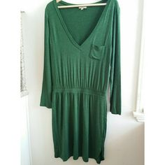 Anthropologie Bordeaux green dress Anthropologie Bordeaux dress. Great Condition. Super soft and comfortable. Beautiful green. Anthropologie Dresses Long Sleeve