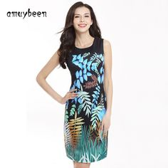 9c7a59bacbd Amuybeen Summer Dress 2017 Hot Vestidos Print Sleeveless Casual Party  Dresses Office Plus Size Floral Sexy