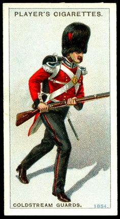 """#55 - Coldstream Guards-Private, Review Order, 1854 - Player's Cigarettes,  """"Regimental Uniforms, Second Series"""" (issued in 1914) 