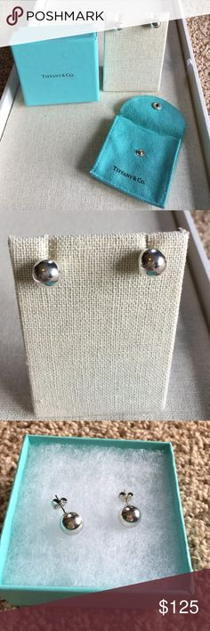 Authentic Tiffany & Co.  ball earrings Stunning and simple 10mm ball earrings. In great condition. Comes with pouch, Tiffany box and ribbon. Tiffany & Co. Jewelry Earrings