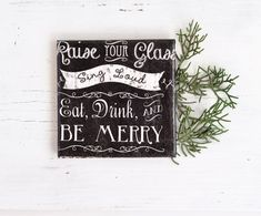 Chalkboard Style Merry Wishes Ceramic Tile Coasters Typography Black Drink Coasters Christmas New Year Hostess Gift, set of 4