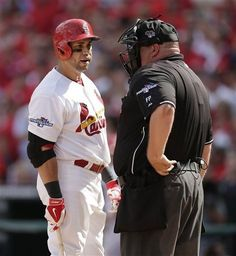 Carlos Beltran has words with home plate umpire Wally Bell after Beltran struck out in the sixth inning of Game 2 of the NLDS. Cards lost 7-1.  Series tied 1-1. 10-04-13