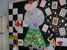 Classroom wall display for Alice in Wonderland.