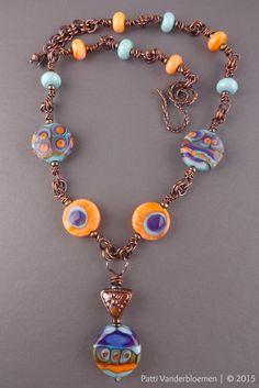 Batik Sherbert Artisan Lampwork and Copper Necklace   Handcrafted Jewelry by Patti Vanderbloemen