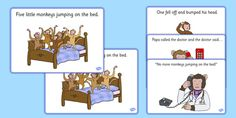 * NEW * Five Little Monkeys Jumping on the Bed Sequencing
