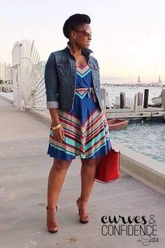 Love the colors and the high waist. I imagine this is sleeveless. Would not pair with the denim jacket.