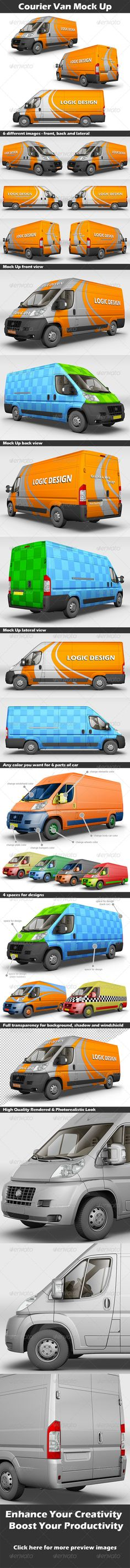 Courier Van Mock Up - Product Mock-Ups Graphics