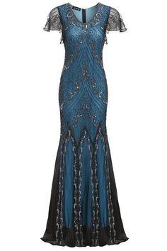 Evelyn Blue Beaded Flapper Dress 1920s Great Gatsby Dress