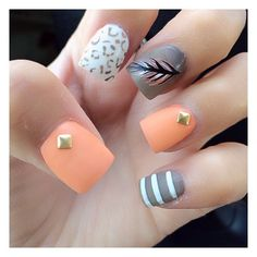 Love the feather nail!  Check out our decals to find feathers stickers and other designs for DIY nails. Fingercandynailart.com Fancy Nails, Love Nails, How To Do Nails, Pretty Nails, Gray Nails, Matte Nails, Cheetah Nails, Peach Nails, Orange Nails