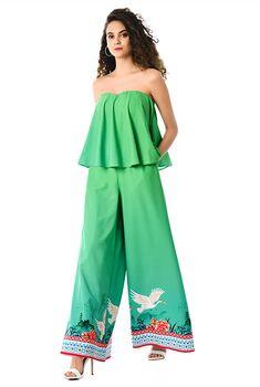 e72d78c090a I  lt 3 this Ruffled strapless bird border print crepe jumpsuit from eShakti  Floral Border