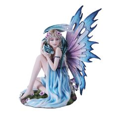 This gorgeous figurine features a fairy and her dragon friend! The fae is spring themed, done in the colors of melting ice and newly blooming flowers. Blossoms bloom at her feet and adorn her hair, and mushrooms grown nearby. Her wyvern curls around her neck, its scales a bold blue. A great way to bring some magic into your home!
