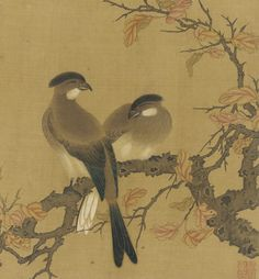 Two crested birds on a branch; autumn leaves - 18th century Zhao Boju , (Chinese, ca.1120s-ca.1162) - Qing dynasty Ink and color on silk