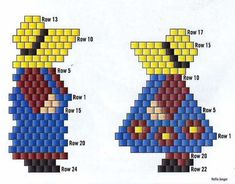 Pattern for Doll earrings in brickstitch