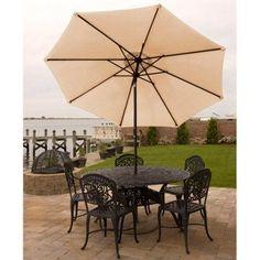 Bliss Hammocks 9' Aluminum Market Umbrella with Crank and Tilt Features, Beige