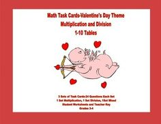 Task cards with a Valentine's Day theme offer a fun way to reinforce and practice the multiplication tables.  This package offers three sets of task cards with 24 cards in each set.  The collection contains the following: Set 1 has 24 multiplication problems Set 2 has 24division problems Set 3 is a mix of multiplication and division There is a student answer sheet for each set and a teacher key for each.
