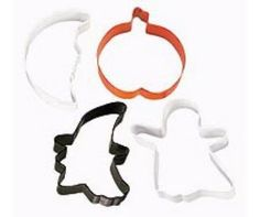 Spooky Shapes Halloween Cookie Cutter Set by Wilton Colored Cookies, Halloween Cookie Cutters, Metal Cutter, Baking Utensils, Cookie Cutter Set, Halloween Party, Wilton Products, Shapes, Kitchenaid