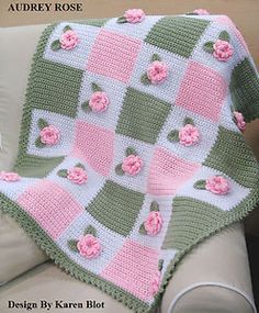 pink and green 3D rose baby afghan