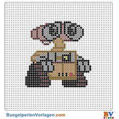 WALL-E Bügelperlen Vorlage. Auf buegelperlenvorlagen.com kannst du eine große Auswahl an Bügelperlen Vorlagen in PDF Format kostenlos herunterladen und ausdrucken.