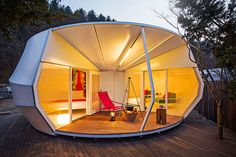 Glamping Architecture by ArchiWorkshop.kr(건축공방) offers a unique camping experience. Two types of Glamping units with contemporary design positioned in the middle of gentle korean nature. From the Glamping site, you have a view of the valley, miles. Luxury Camping Tents, Camping Tent Lights, Camping Glamping, Outdoor Camping, Camping Gear, Camping Site, Luxury Tents, Cool Camping Tents, Camping Gadgets