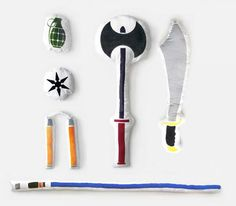 No longer will you need to fill your pillow case with lemons when entering a pillow fight. The pillow fight weapons are a set of pillows that are shaped like and screen printed with weapons, these wil...