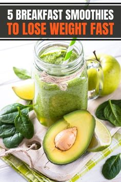5 healthy morning breakfast smoothies for weight loss easy and fast and make great healthy meal replacements. Green smoothie ideas and recipes include healthy flat belly, high protein, and fat burning ingredients. #breakfastideas #weightloss How To Make Smoothies, Healthy Smoothies, Smoothie Recipes, Vegetable Smoothies, Breakfast Smoothies For Weight Loss, Weight Loss Smoothies, Lose Weight Naturally, How To Lose Weight Fast, Smoothie Benefits