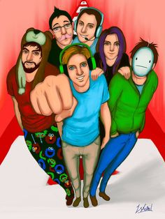 Mark, PewDiePie, Minx, Ken, Cry and SeaNanners -YouTubers