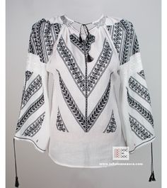 ie Romanian blouse - handmade embroidery - bohemian, boho chick, hippie style Embroidery Fashion, Vintage Embroidery, Embroidery Stitches, Embroidery Patterns, Manado, Embroidered Clothes, Embroidered Tops, Straight Stitch, Peasant Blouse
