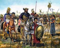 The Punic army at the beginning of the Battle of Cannae. In the foreground, Hannibal with the eye patch