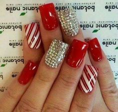 Festive Candy Stripe Nails With Beads